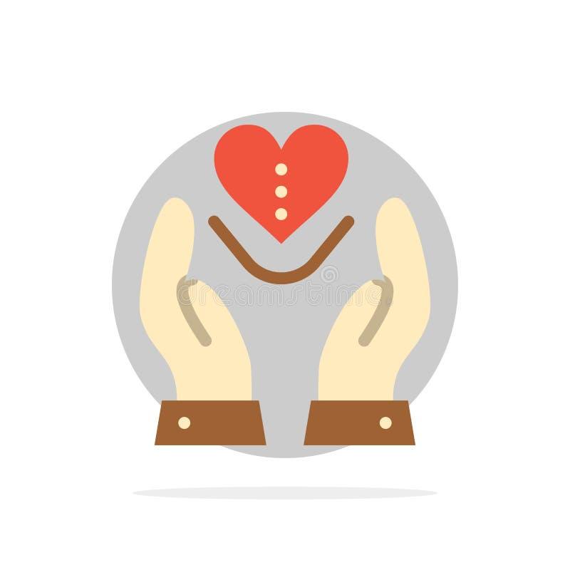 Soin, compassion, sentiments, coeur, icône plate de couleur de fond abstrait de cercle d'amour illustration stock