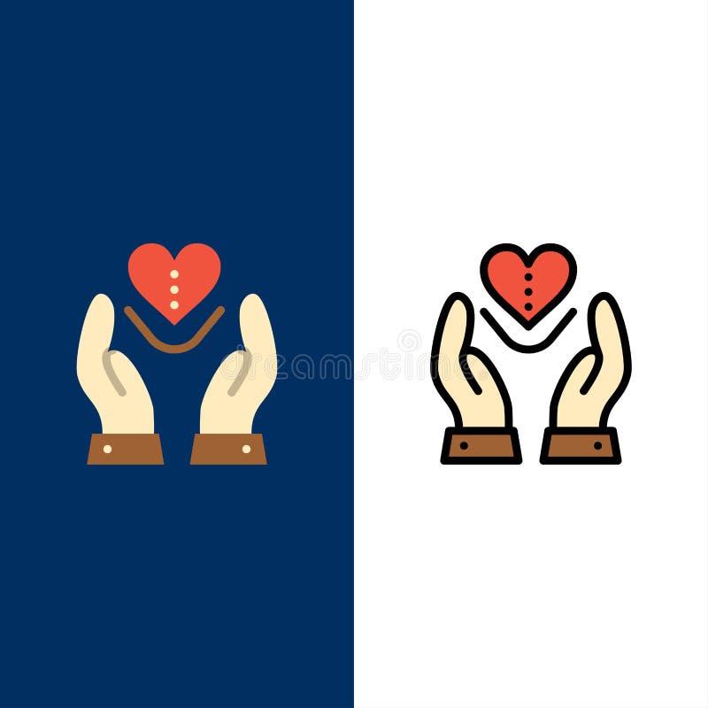 Soin, compassion, sentiments, coeur, icônes d'amour L'appartement et la ligne icône remplie ont placé le fond bleu de vecteur illustration de vecteur