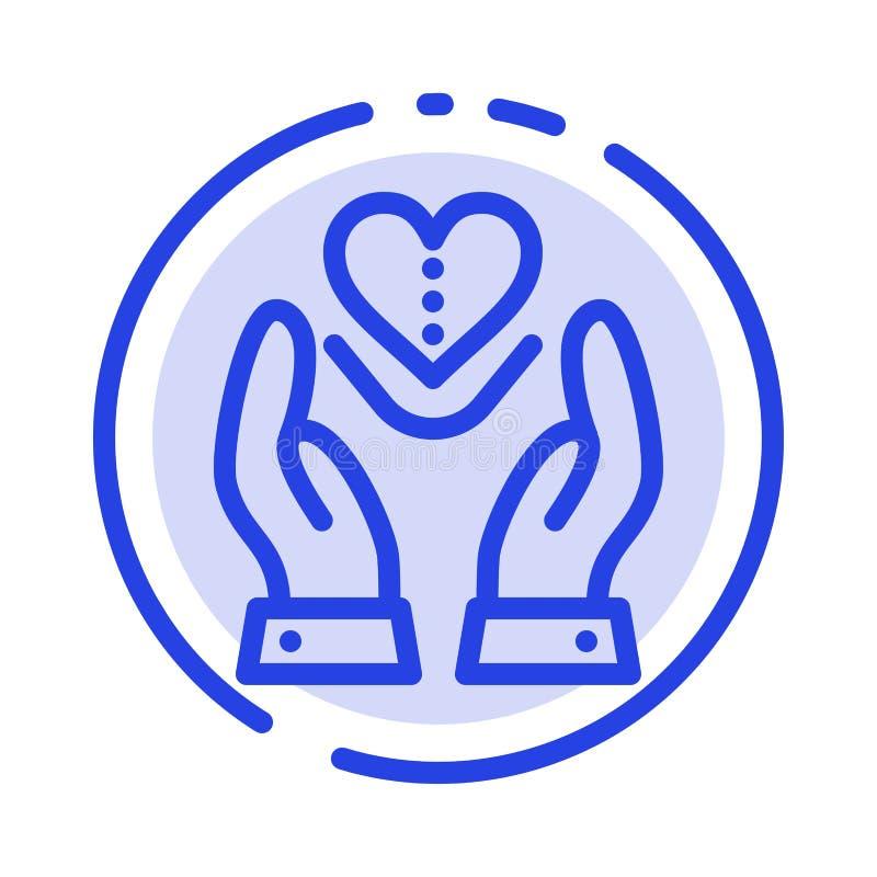 Soin, compassion, sentiments, coeur, ligne pointillée bleue ligne icône d'amour illustration stock