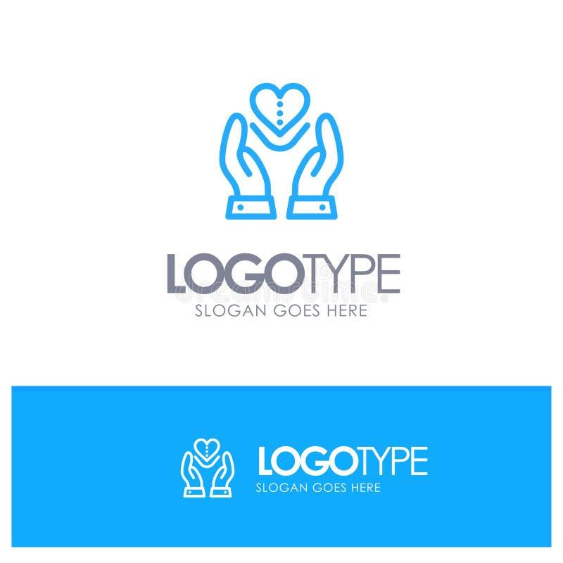 Soin, compassion, sentiments, coeur, logo bleu d'ensemble d'amour avec l'endroit pour le tagline illustration libre de droits