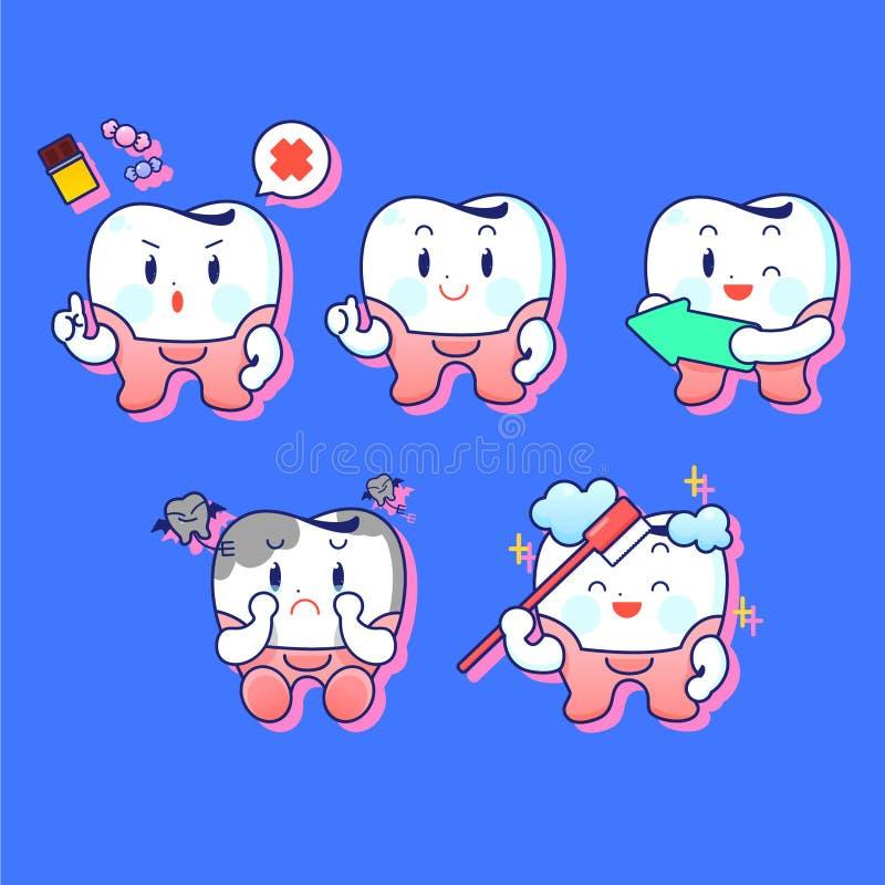 Soin de dents et caractère de concept d'hygiène illustration de vecteur