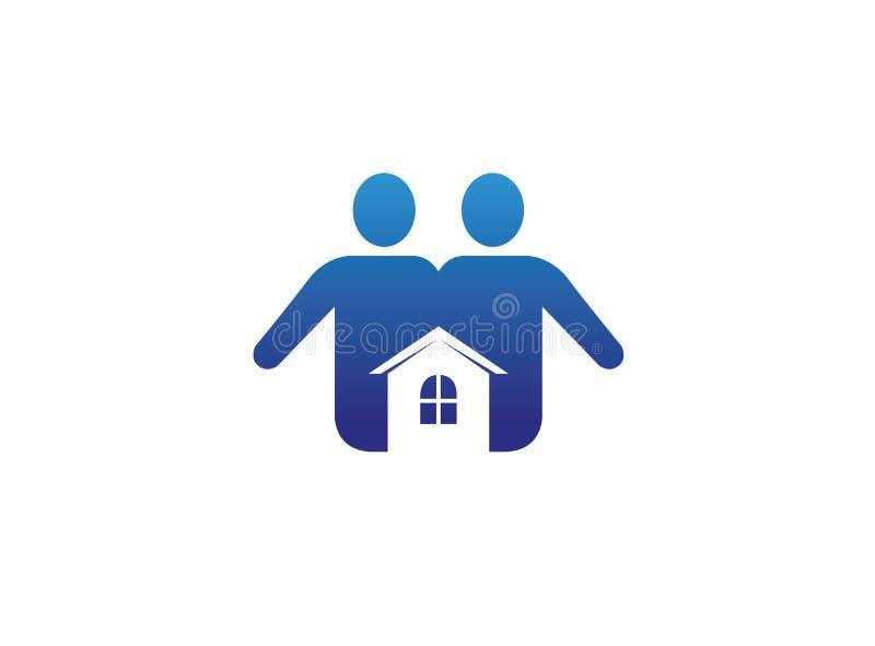 Soin de maison de famille un ajouter à un petit logo à la maison illustration de vecteur