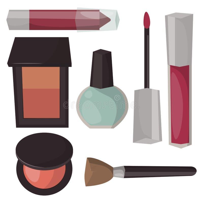 Soin de mascara de parfum d'icônes de maquillage illustration stock