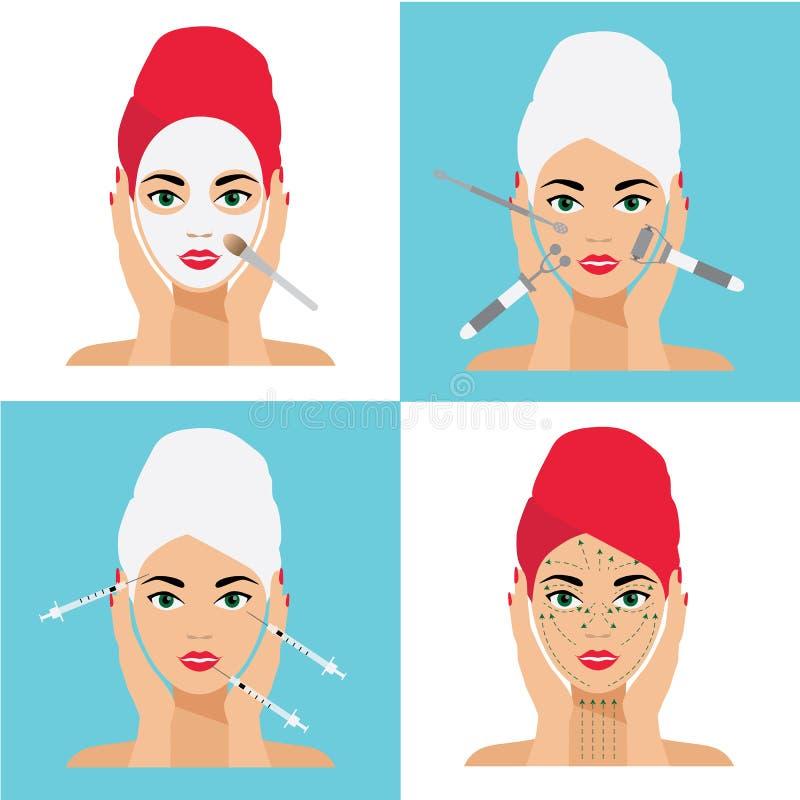 Soin de visage et illustration plate de vecteur de traitement Mesotherapy, injections, masque, lignes de massage illustration stock