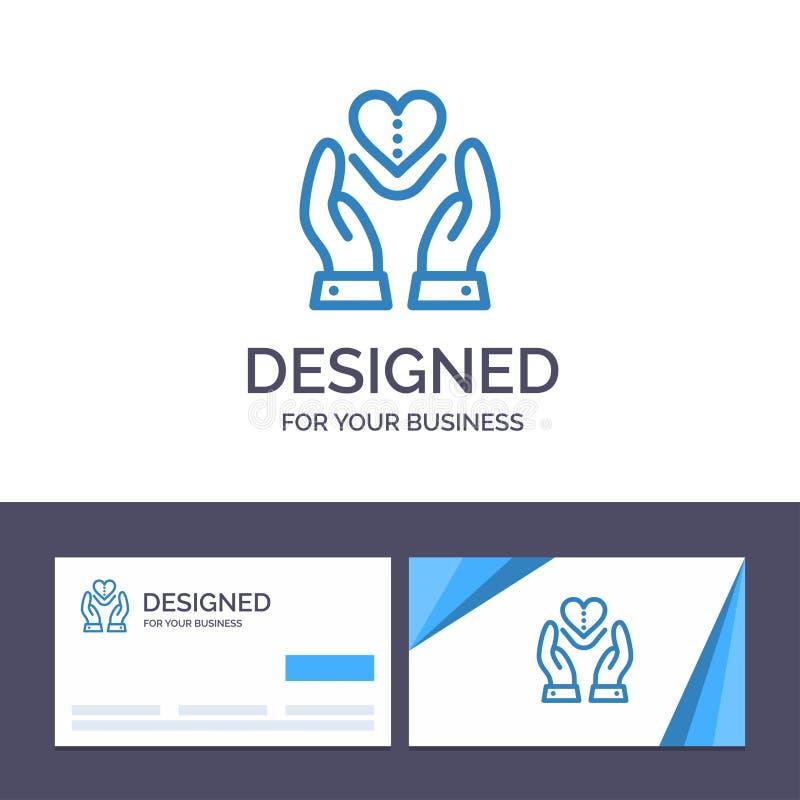 Soin de visite de calibre créatif de carte de visite professionnelle et de logo, compassion, sentiments, coeur, illustration de v illustration libre de droits