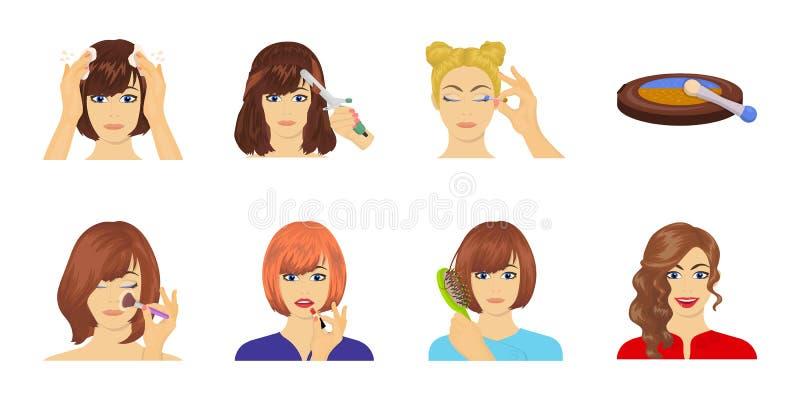 Soin des icônes de cheveux et de visage dans la collection d'ensemble pour la conception Les parfums et le maquillage dirigent l' illustration de vecteur
