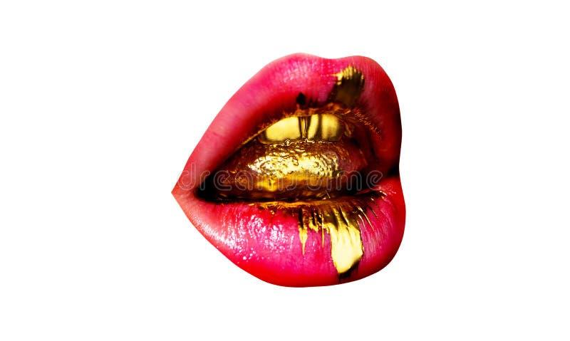 Soin et beaut? de l?vre Languettes sexy Maquillage rose de lèvres de beauté Beau renivellement Bouche ouverte sensuelle rouge ? l photos stock