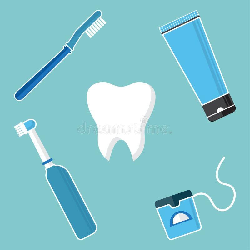 Soin et hygi?ne oraux, dents de brossage Ensemble d'outils dentaires de nettoyage Dent, brosse ? dents, brosse ? dents ?lectrique illustration de vecteur