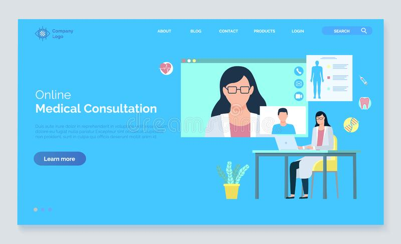 Soin médical de Web, vecteur de consultation d'aide illustration libre de droits
