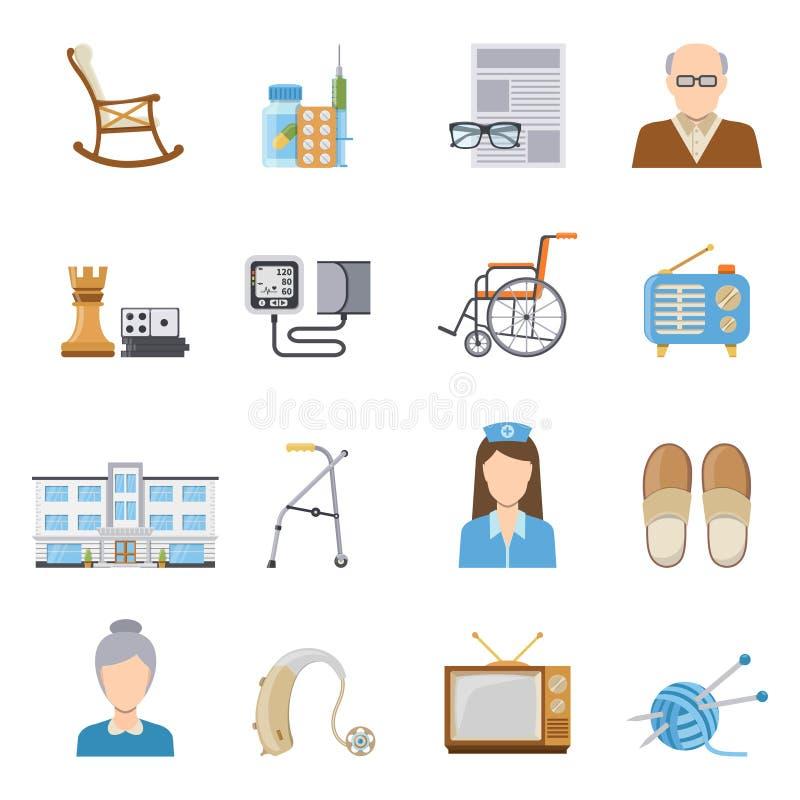Soin plus âgé dans des icônes de maison de repos illustration libre de droits