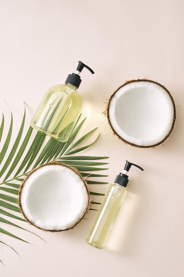 Soins capillaires de noix de coco de shampooing et de jet Masque fait maison de cosm?tiques naturels Huile de noix de coco et fro photo libre de droits