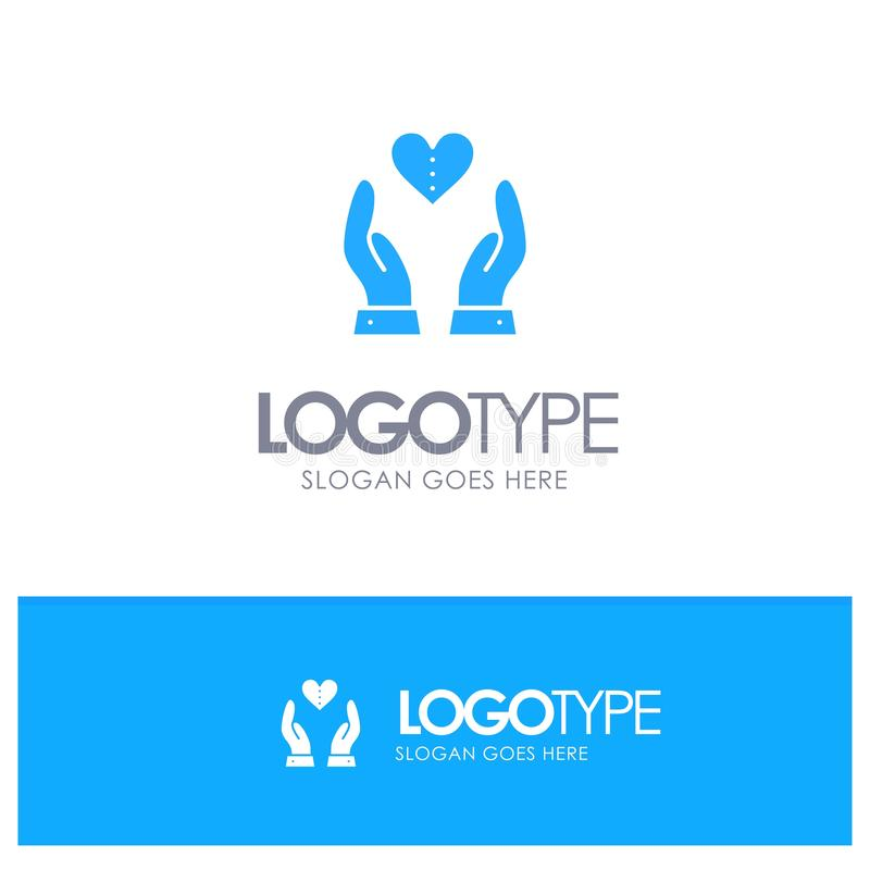 Soins, Compassion, Sentiments, Coeur, Love Blue Solid Logo avec lieu pour le slogan illustration libre de droits