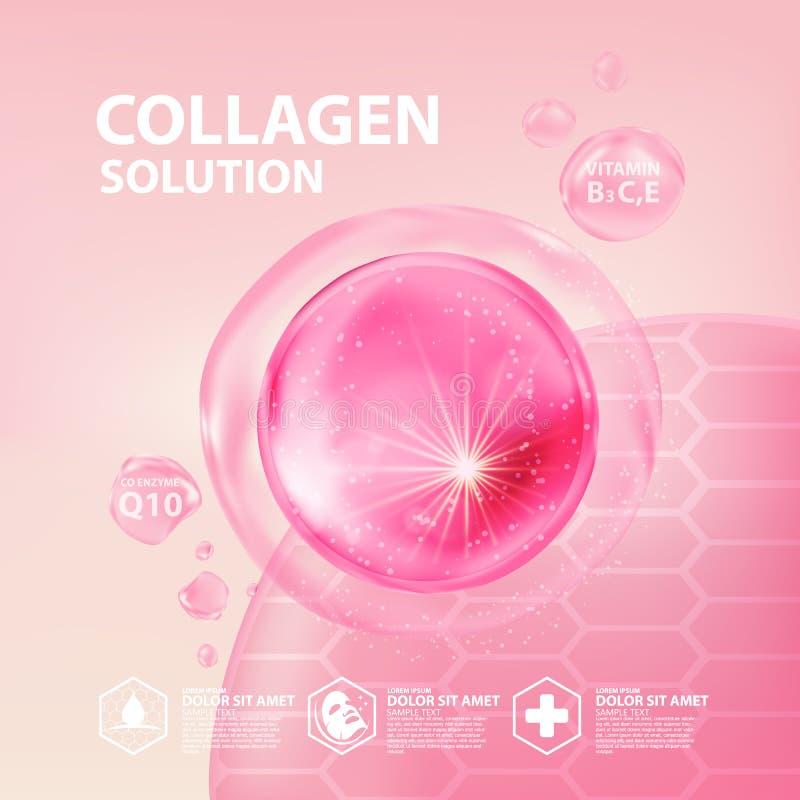 Soins de la peau de cosmétique de sérum de collagène illustration stock