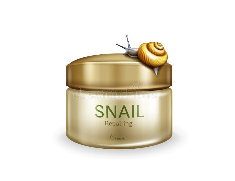 Soins de la peau réparant la crème avec le vecteur de mucine d'escargot illustration libre de droits