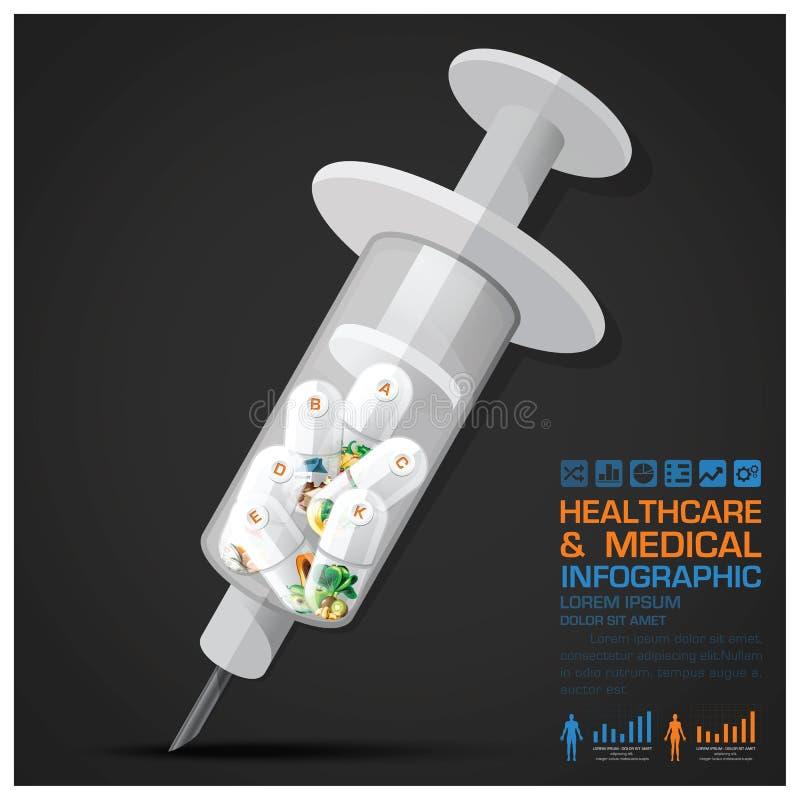 Soins de santé et capsule médicale de pilule de vitamine avec la seringue Infogra illustration libre de droits