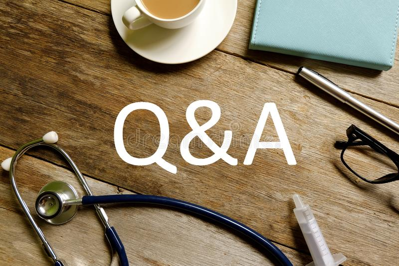 Soins de santé et concept médical Questions et réponse image stock