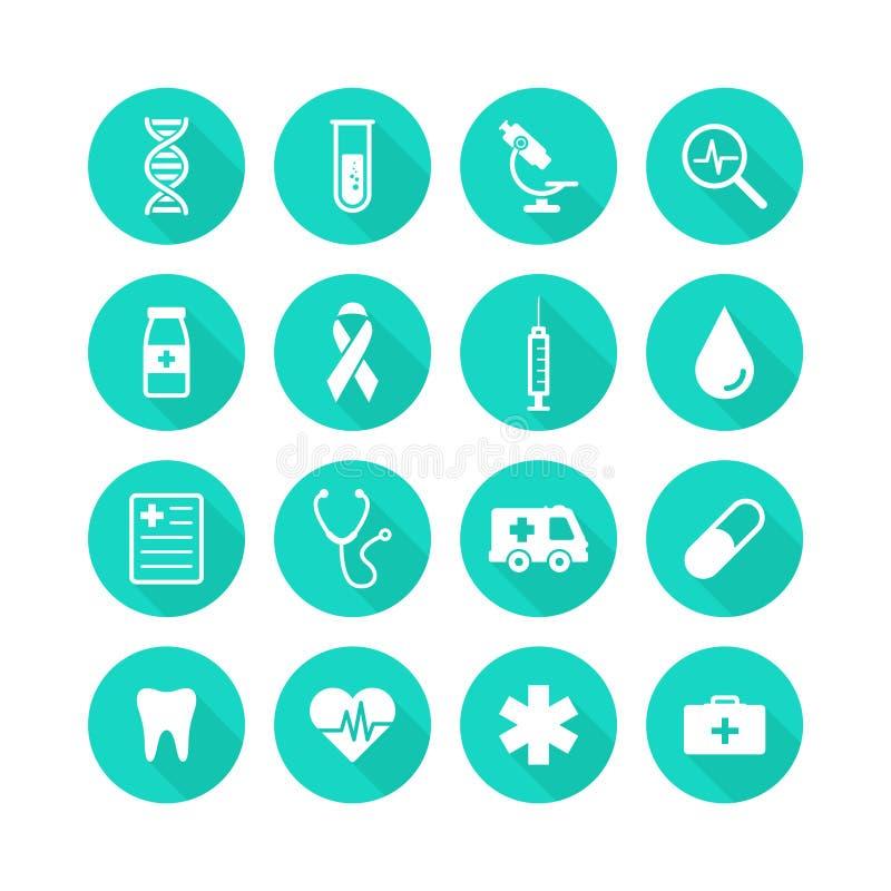 Soins de santé et icônes médicales réglés Santé d'icônes d'illustration de vecteur, croix, ADN, comprimé Icônes modernes de colle illustration stock