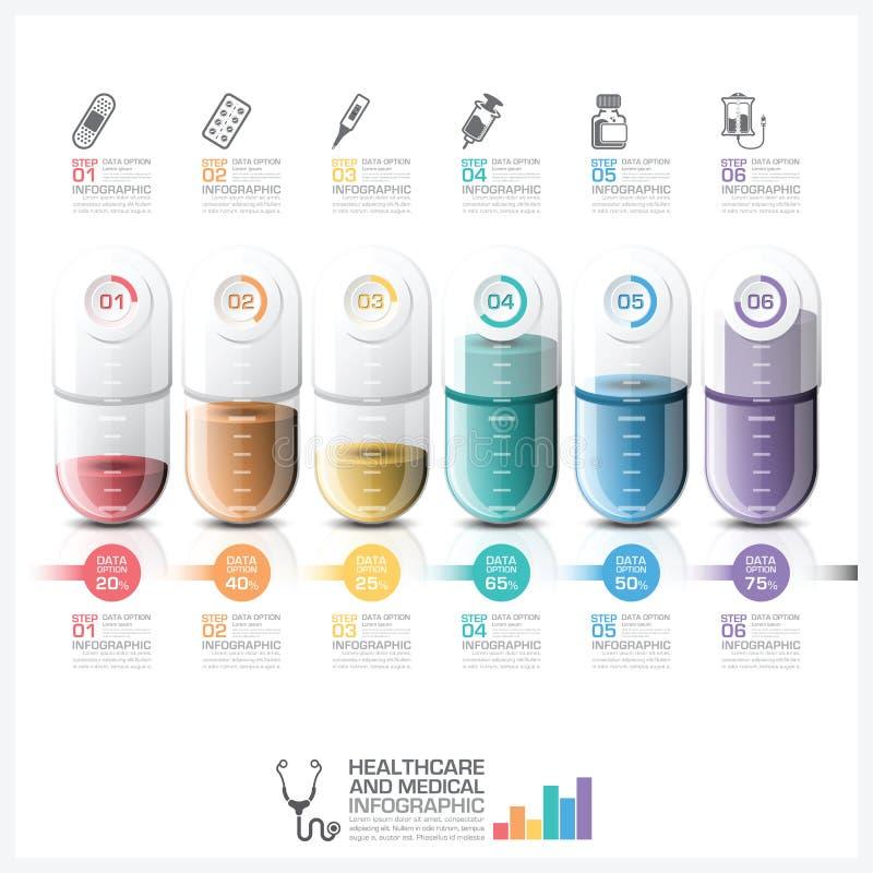 Soins de santé et Infographic médical avec le St de chronologie de capsule de pilule illustration de vecteur