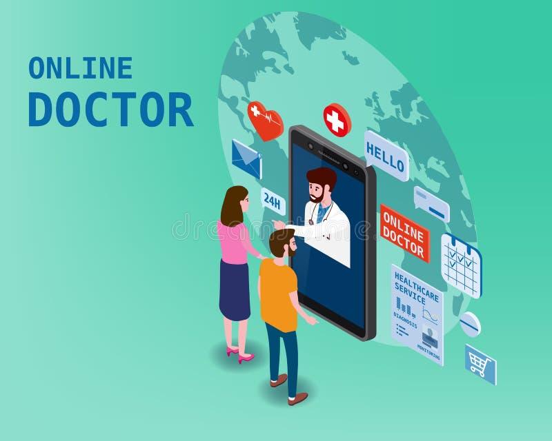 Soins de santé isometry en ligne de docteur et consultation médicale utilisant une technologie de smartphone Couples et docteur d illustration libre de droits
