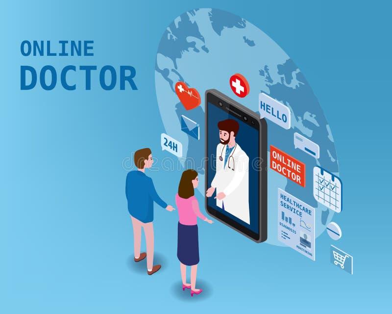Soins de santé isometry en ligne de docteur et consultation médicale utilisant une technologie de smartphone Couples et docteur d illustration stock