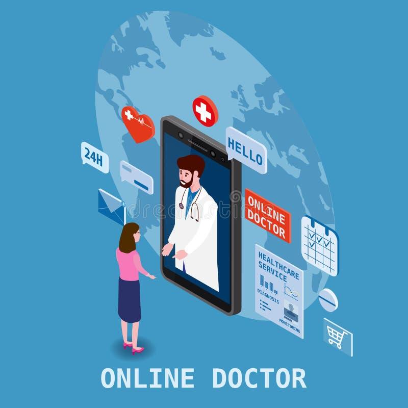 Soins de santé isometry en ligne de docteur et consultation médicale utilisant une technologie de smartphone Femmes et docteur pa illustration stock