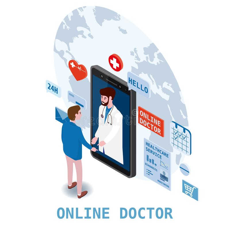 Soins de santé isometry en ligne de docteur et consultation médicale utilisant une technologie de smartphone Hommes et docteur pa illustration libre de droits