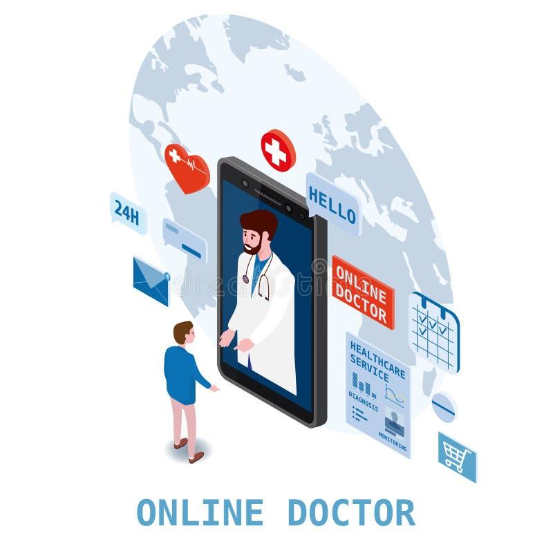 Soins de santé isometry en ligne de docteur et consultation médicale utilisant une technologie de smartphone Hommes et docteur pa illustration de vecteur