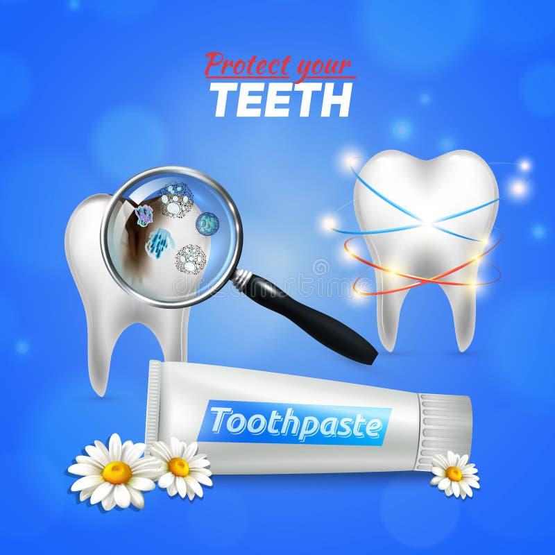 Soins dentaires de dent réalistes illustration stock