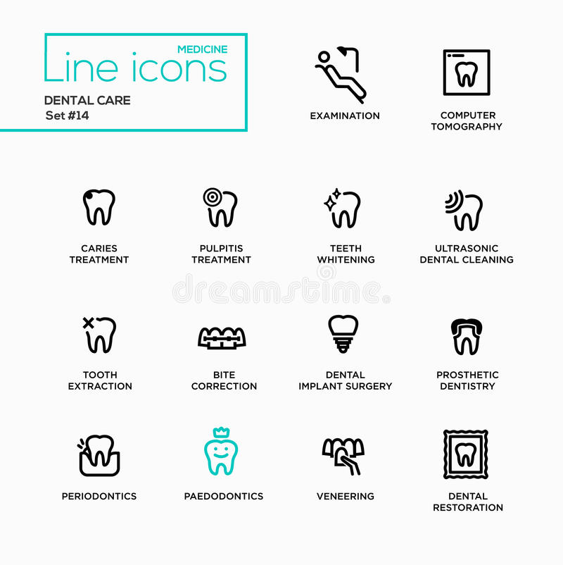 Soins dentaires - ligne simple pictogrammes réglés illustration stock