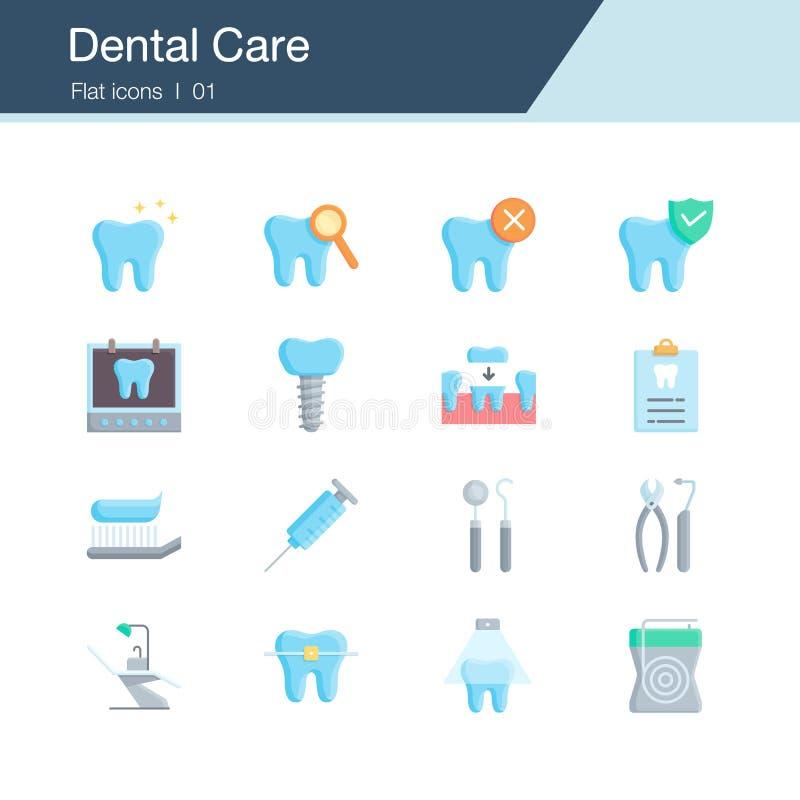Soins dentaires, pr?vention, contr?le et ic?nes dentaires de traitement Conception plate Pour la présentation, conception graphiq illustration libre de droits
