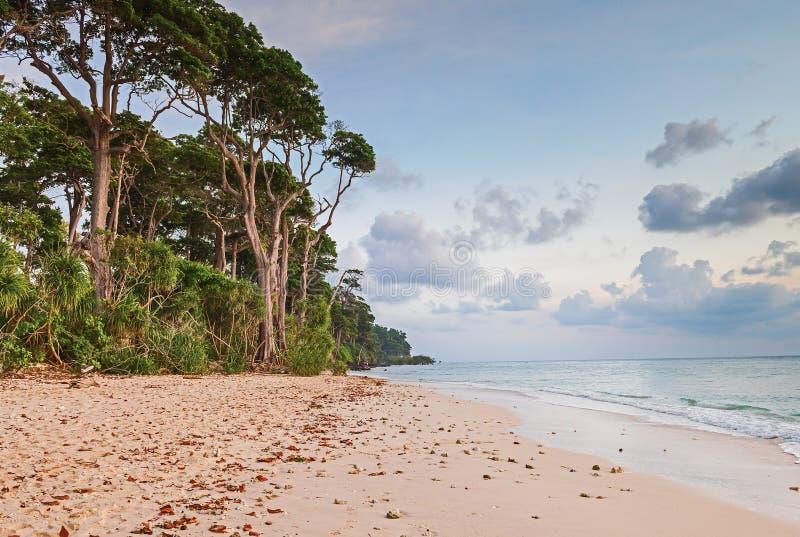 Soirée chez la plage de Laxmanpur, l'Andaman et le Nicobar, Inde photos libres de droits
