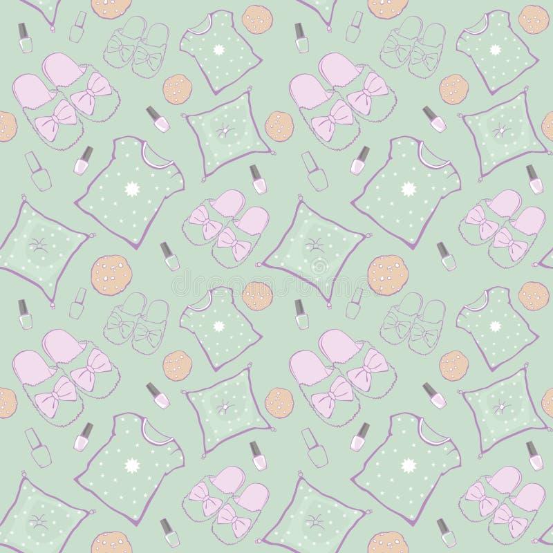 Soirée cinéma verte de partie de pyjama de vecteur sans couture illustration stock