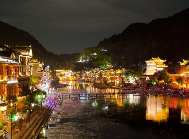 Soirée dans la ville Fenghuang photos libres de droits