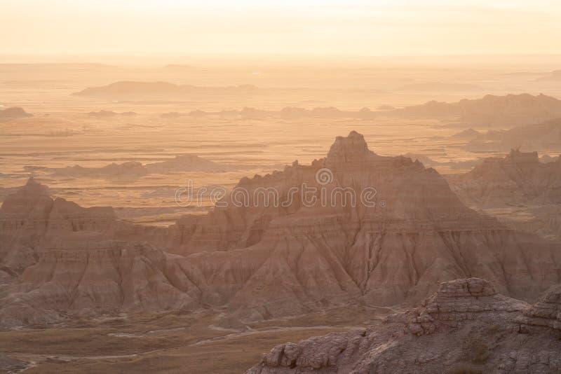 Soirée dans les bad-lands du Dakota du Sud photos stock