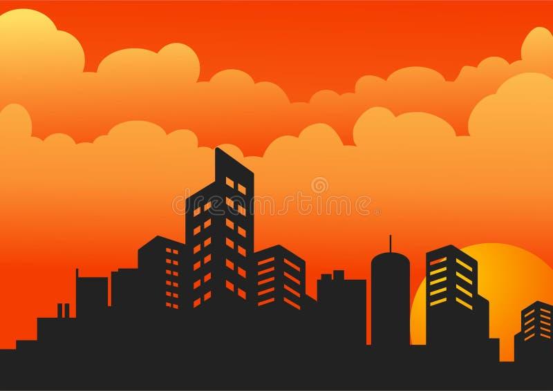Soirée de silhouette de coucher du soleil avec le bâtiment illustration de vecteur
