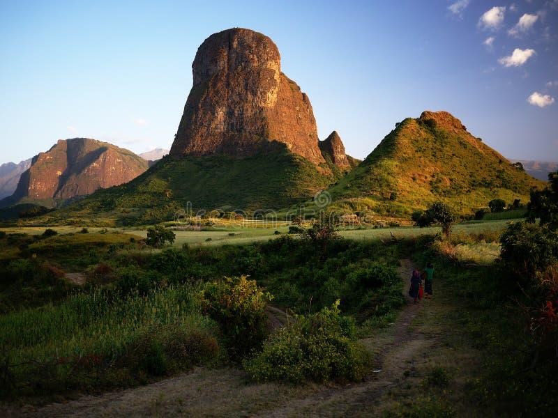 Soirée en montagnes de Simien photographie stock