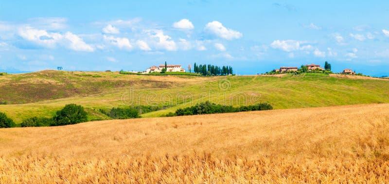 Soirée en Toscane Paysage de Hilly Tuscan avec l'allée d'arbres de cyprès et la maison de ferme, Italie photos stock