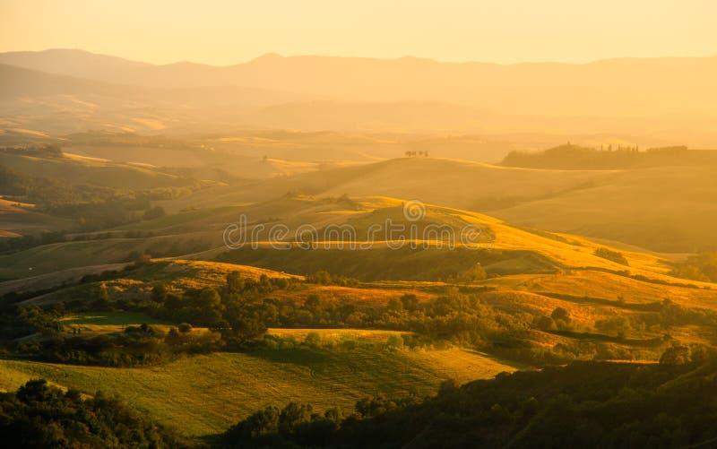 Soirée en Toscane Paysage de Hilly Tuscan dans l'humeur d'or au temps de coucher du soleil avec des silhouettes des cyprès et des photos stock