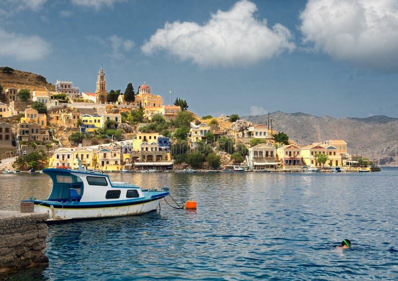 Soirée ensoleillée de la Grèce photo stock