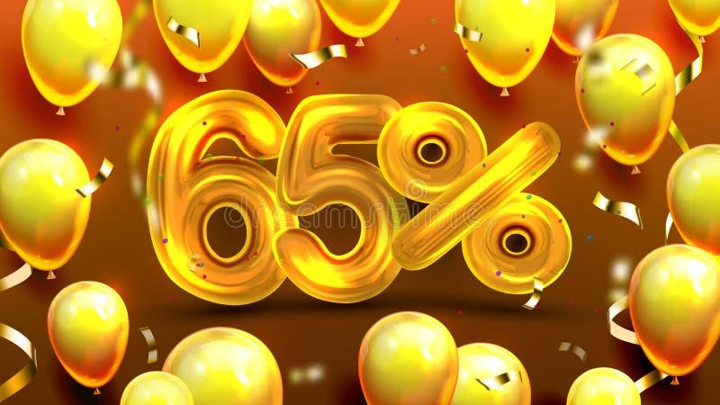 Soixante-cinq pour cent ou vecteur de commercialisation de l'offre 65 illustration stock