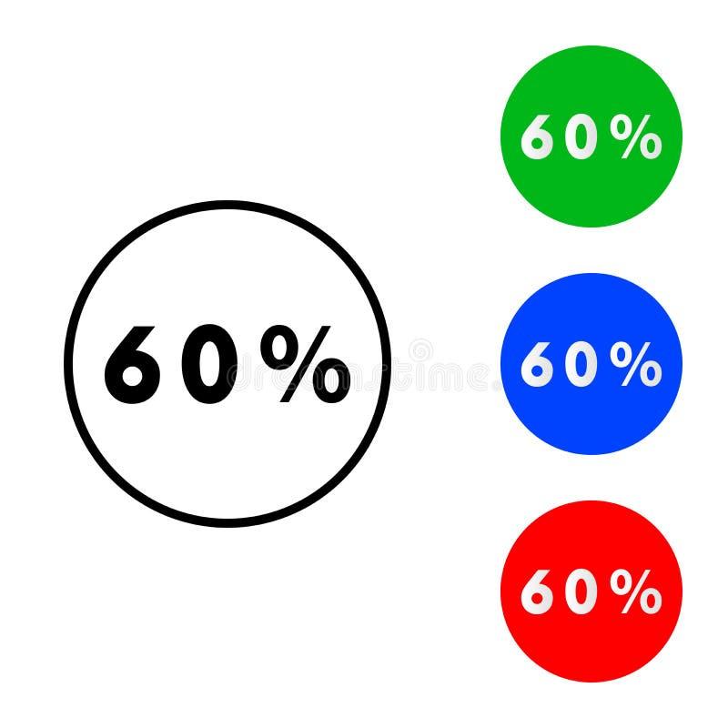 Soixante icônes de pour cent illustration de vecteur