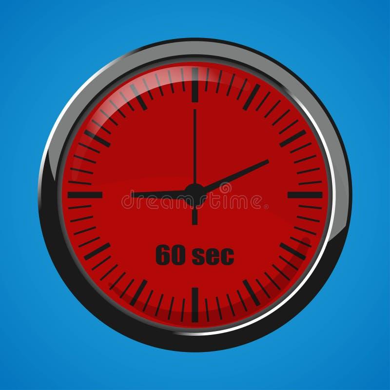 Soixante secondes synchronisent sur le fond bleu Icône de l'horloge 3d illustration de vecteur