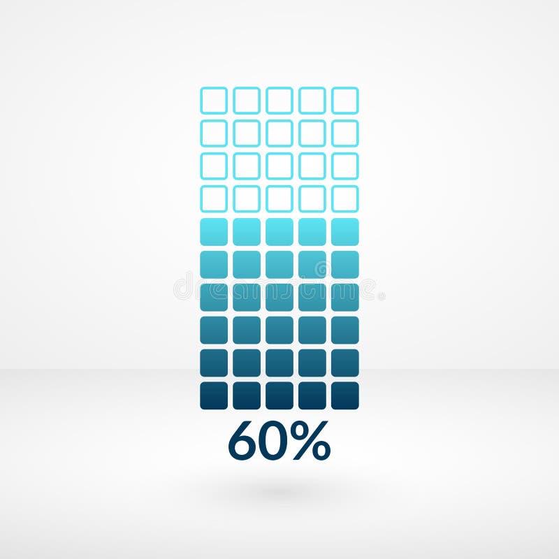 Soixante symboles d'isolement par diagramme carré de pour cent Icône de vecteur de pourcentage pour des finances, affaires illustration stock