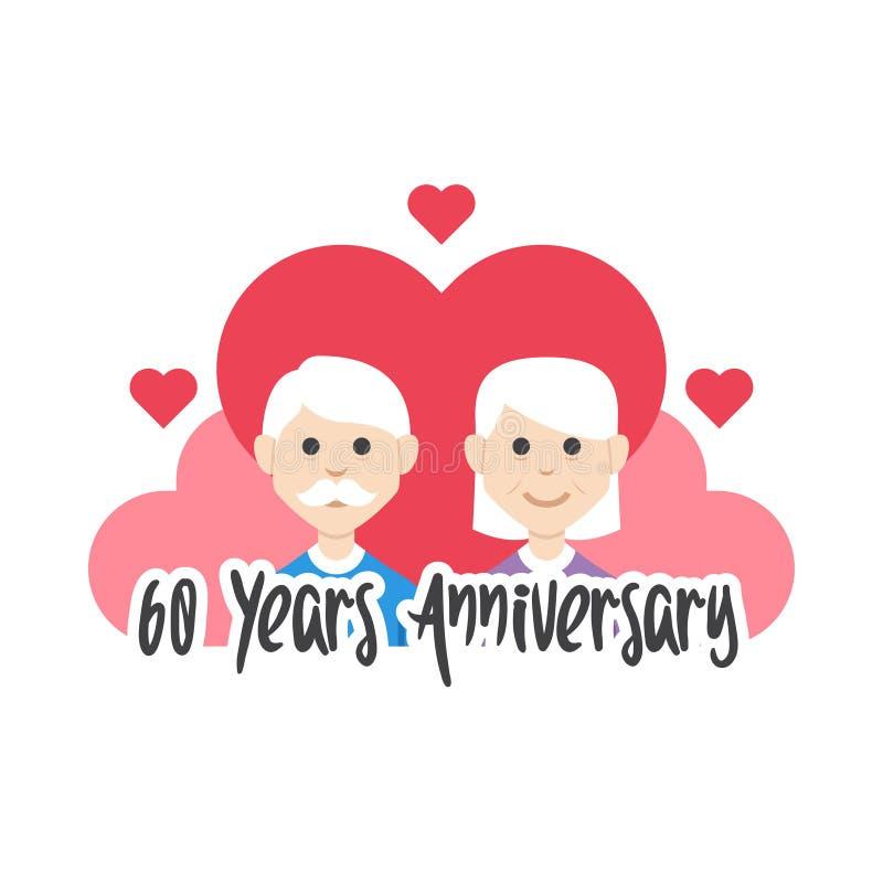 soixantième vecteur d'amour de grands-parents d'anniversaire d'années illustration de vecteur