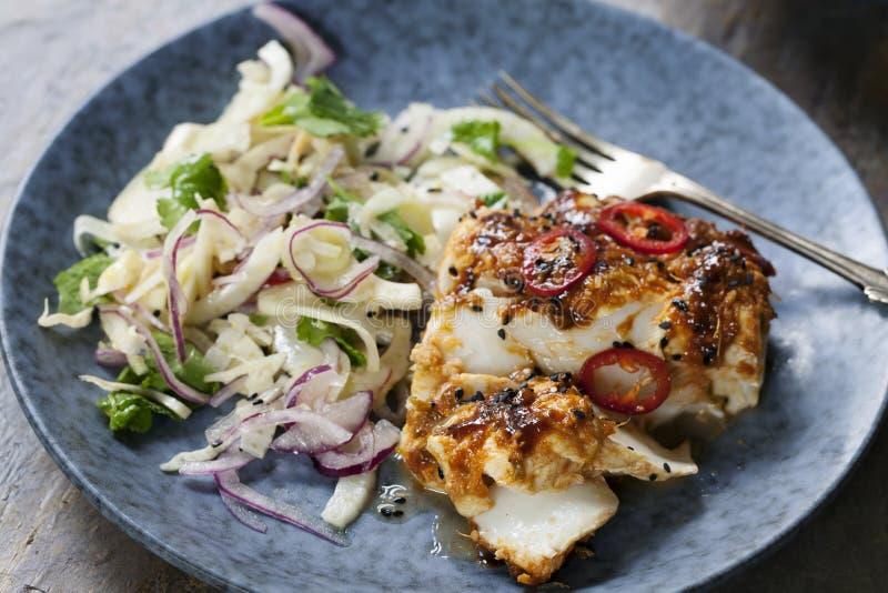 A soja e o gengibre vitrificaram o bacalhau com salada da erva-doce e da cebola fotografia de stock royalty free