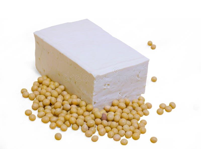 Soja e tofu isolados no fundo branco fotos de stock royalty free