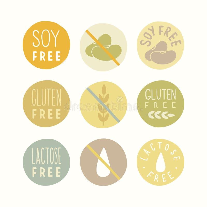 A soja, glúten, lactose livra sinais ilustração do vetor