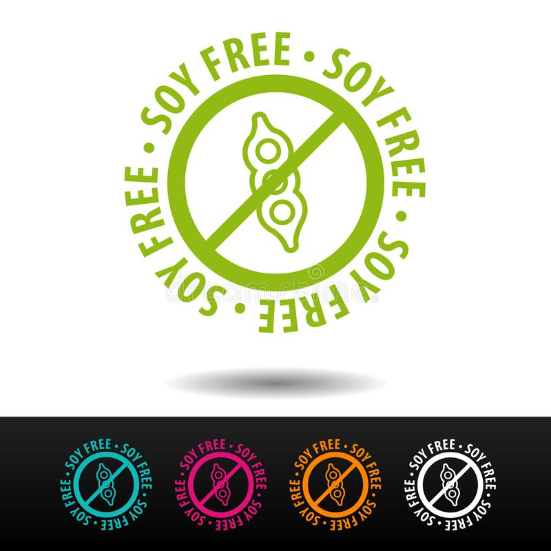 Sojabönor frigör emblemet, logoen, symbol Plan illustration på vit bakgrund Vara kan det använda affärsföretaget royaltyfria foton