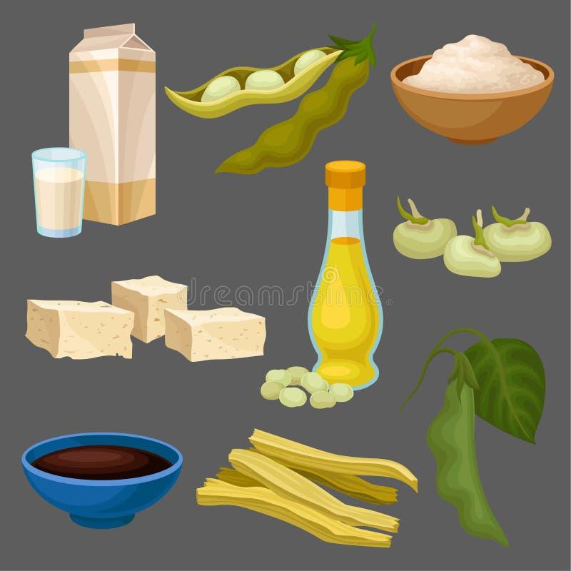 Sojalivsmedelsproduktuppsättningen, mjölkar, oljer, sås, tofuen, bönan, mjöl, kött som är sunt bantar, den organiska vegetariska  vektor illustrationer