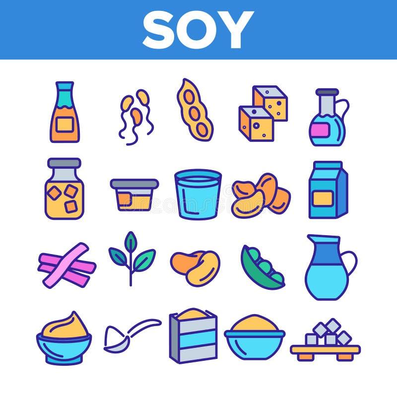 Sojaproducten, Geplaatste Voedsel Lineaire Vectorpictogrammen royalty-vrije illustratie